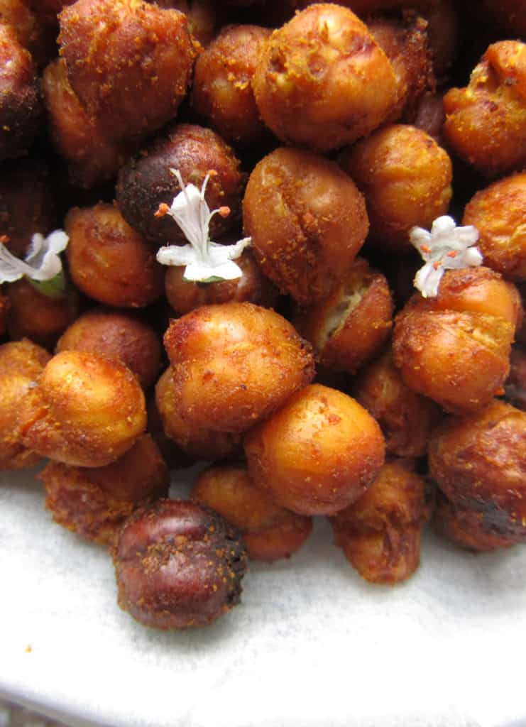 Close up of crunchy oven roasted chickpeas