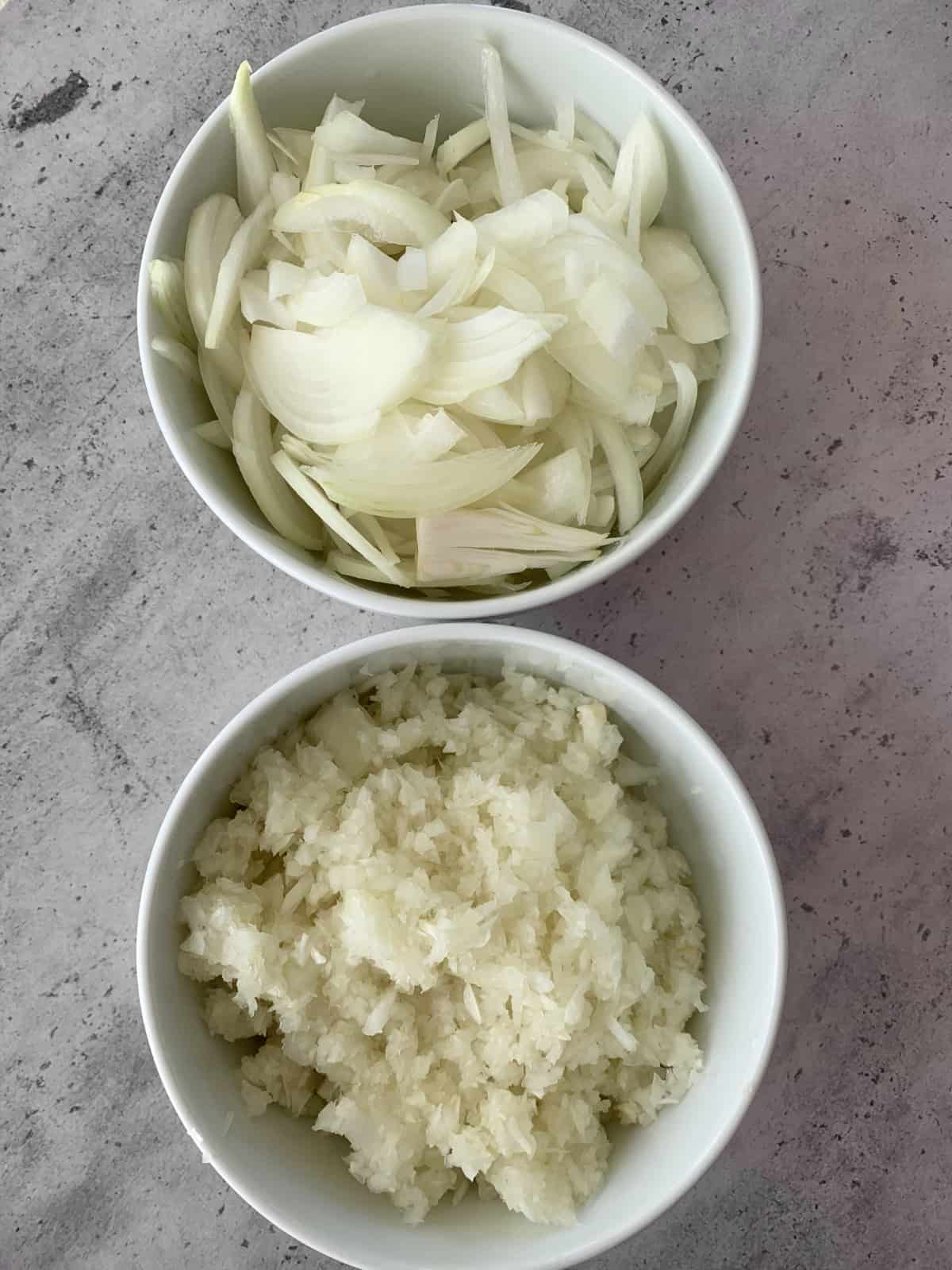 Onions cut differently for mujadara