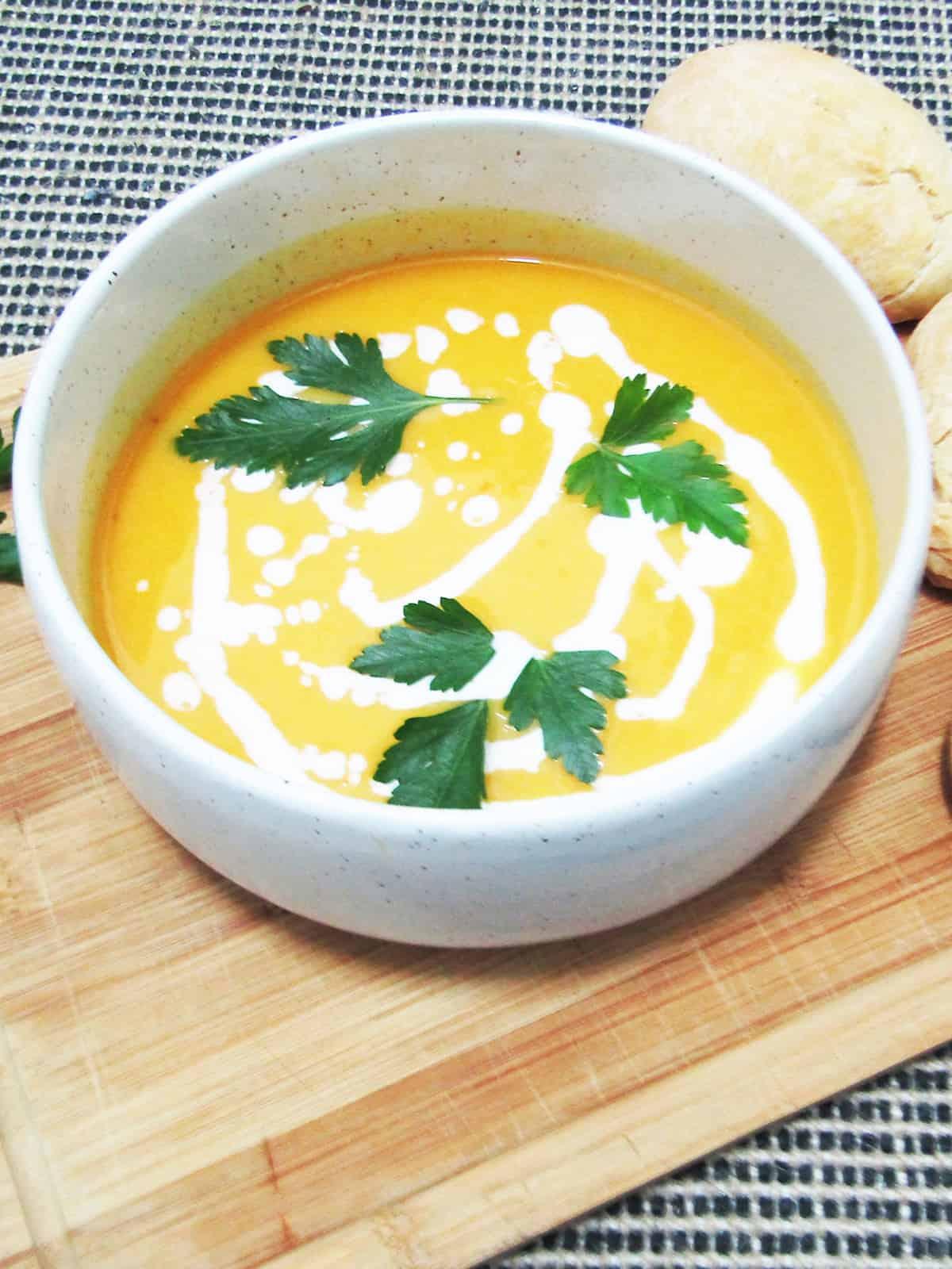 Vegan pumpkin soup in a bowl