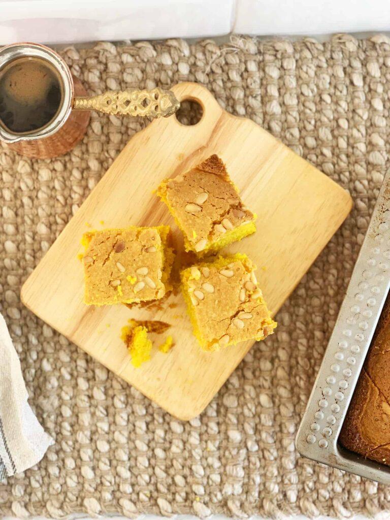 Turmeric Semolina Cake (Sfouf) Lebanese Recipe