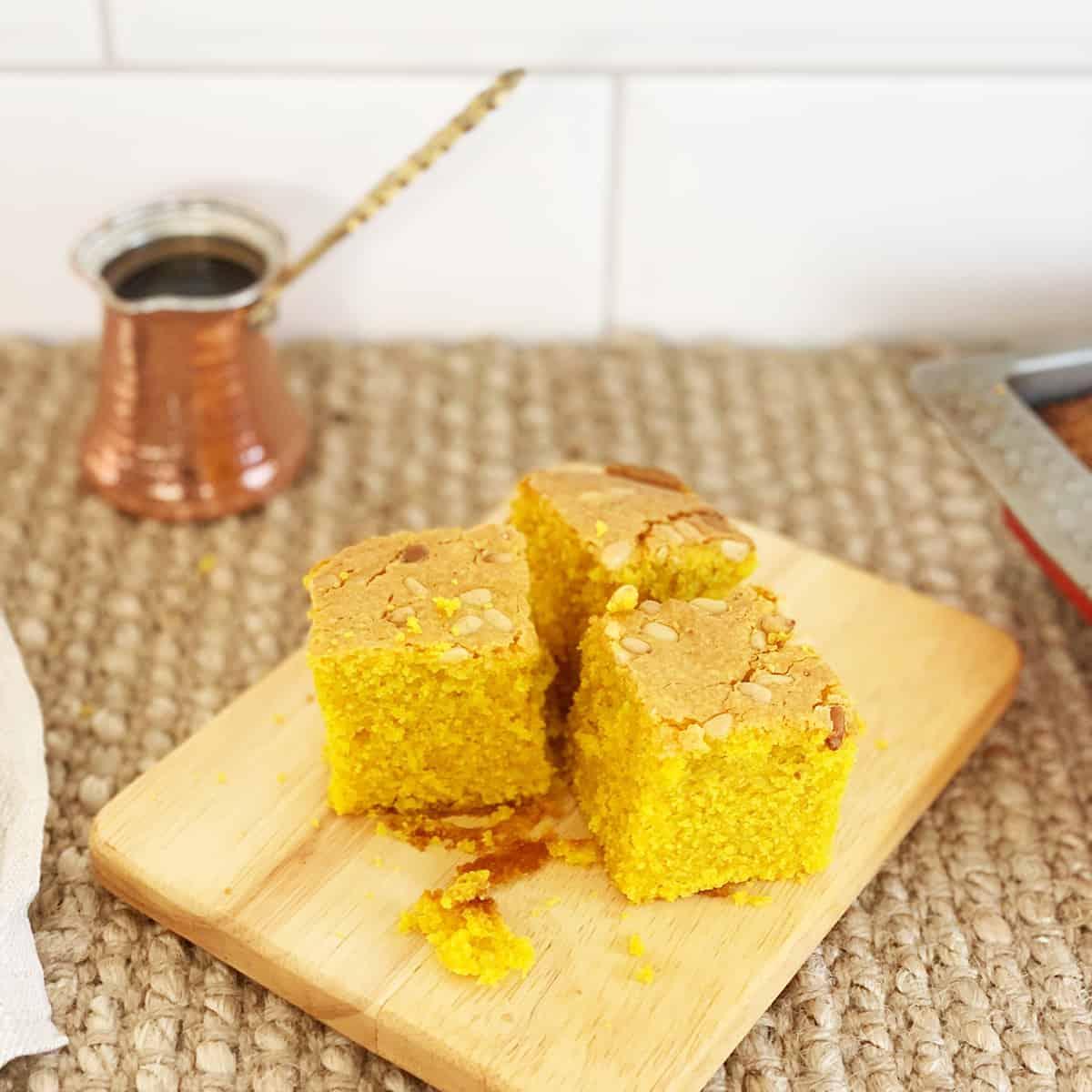 Turmeric Semolina Cake (Sfouf)