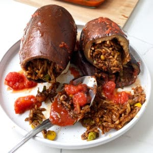 Stuffed Eggplant a Lebanese food recipe known as Batinjan Mahshi