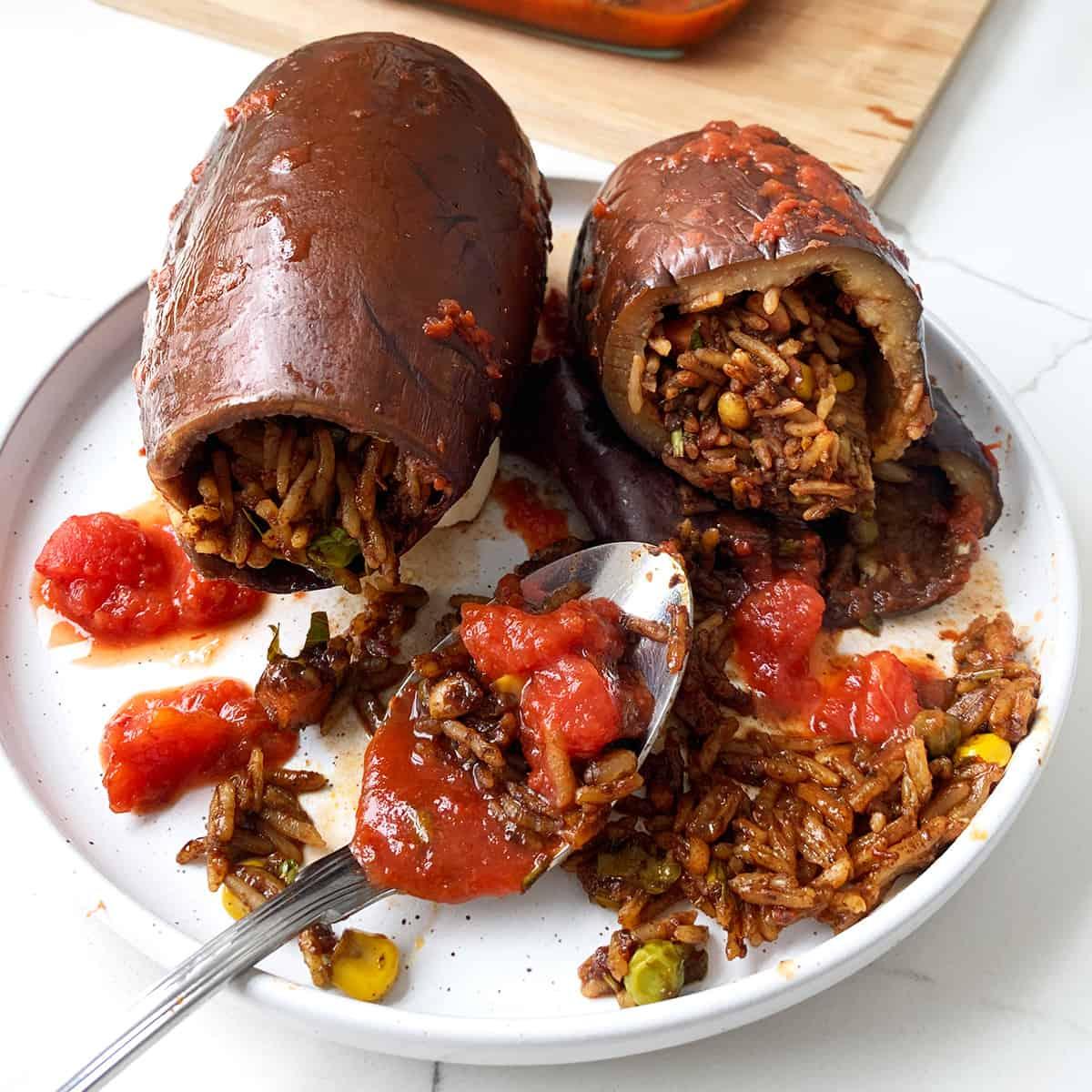 Stuffed Eggplant a Lebanese food recipe known as Batinjan Mahshi