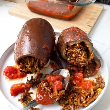 Stuffed eggplant using rice, veggies and pine nuts served on a white plant