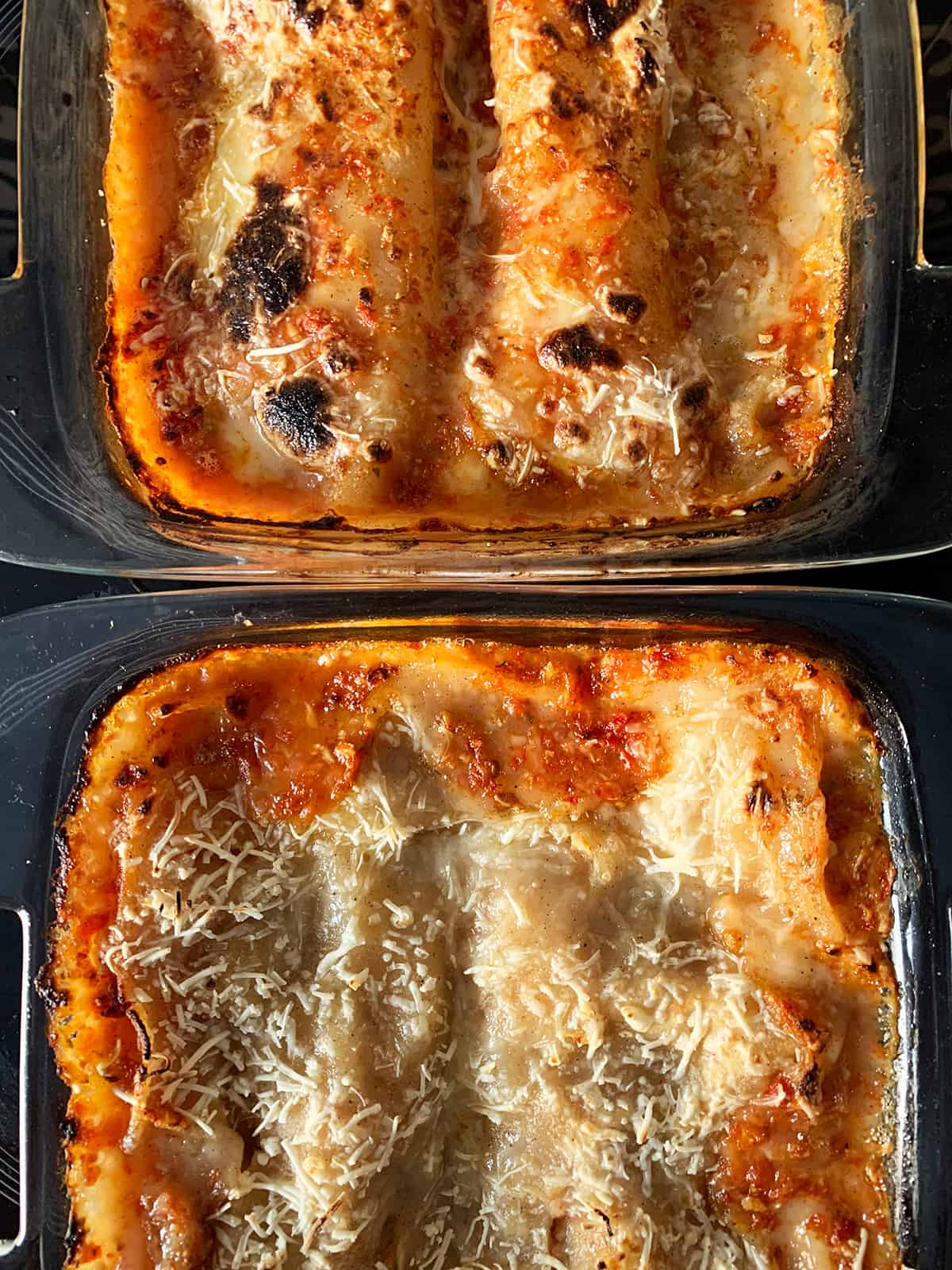 Baked vegan lasagna with mushroom and gluten free served in two glass baking trays