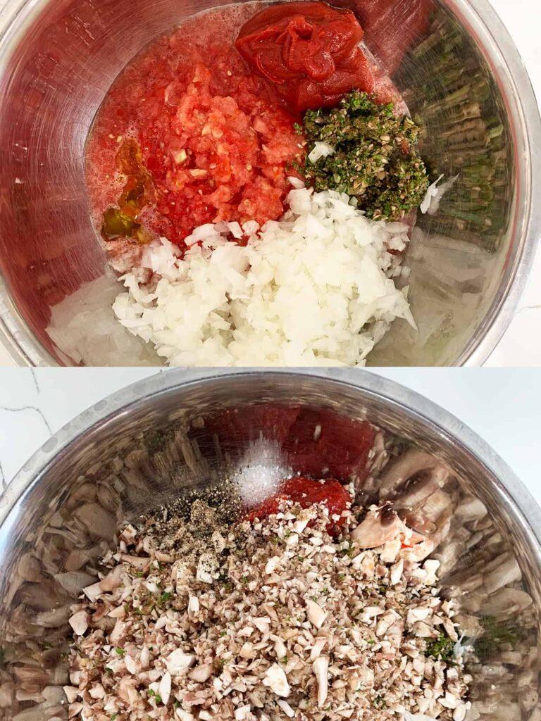 Diced mushroom, onion, tomato, tomato paste, basil, seasoning and oil ready to be mixed