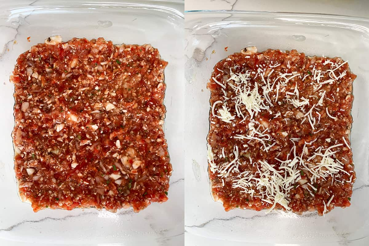 Vegan lasagna layering - mushroom mixture and plant based cheese