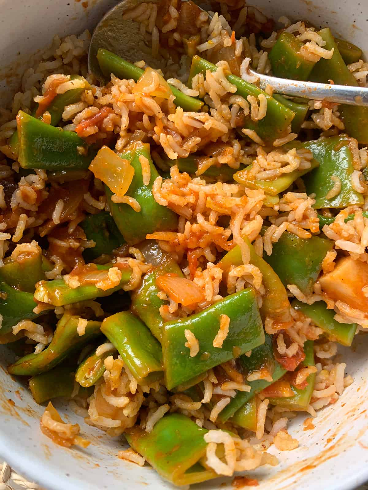 Green Beans - Loubieh bi Zeit mixed with brown basmati rice