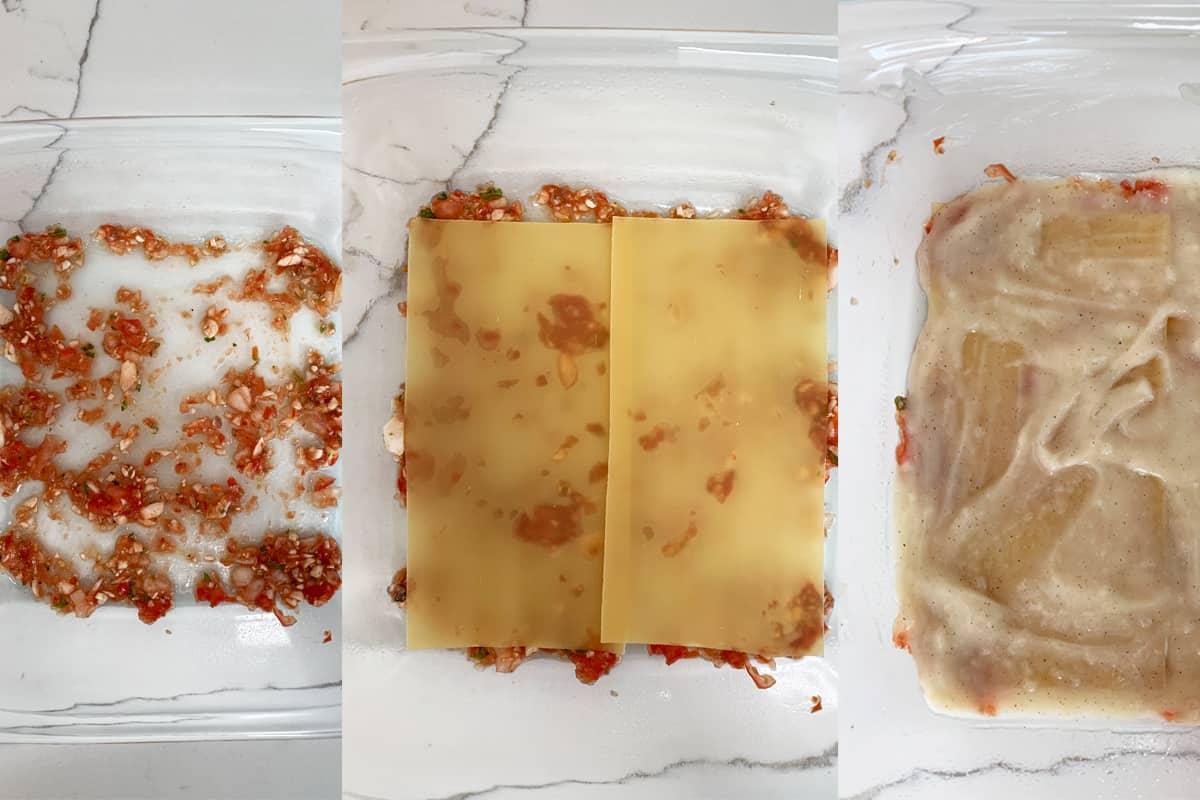 bottom 3 layers of the vegan lasagna