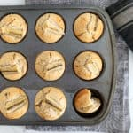 Healthy banana muffins in a muffin try