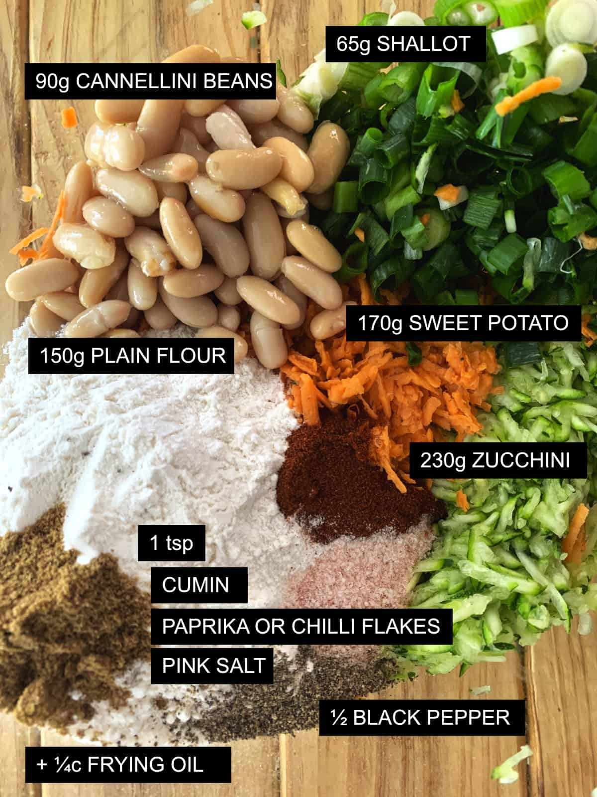 Sweet potato and zucchini fritters ingredients