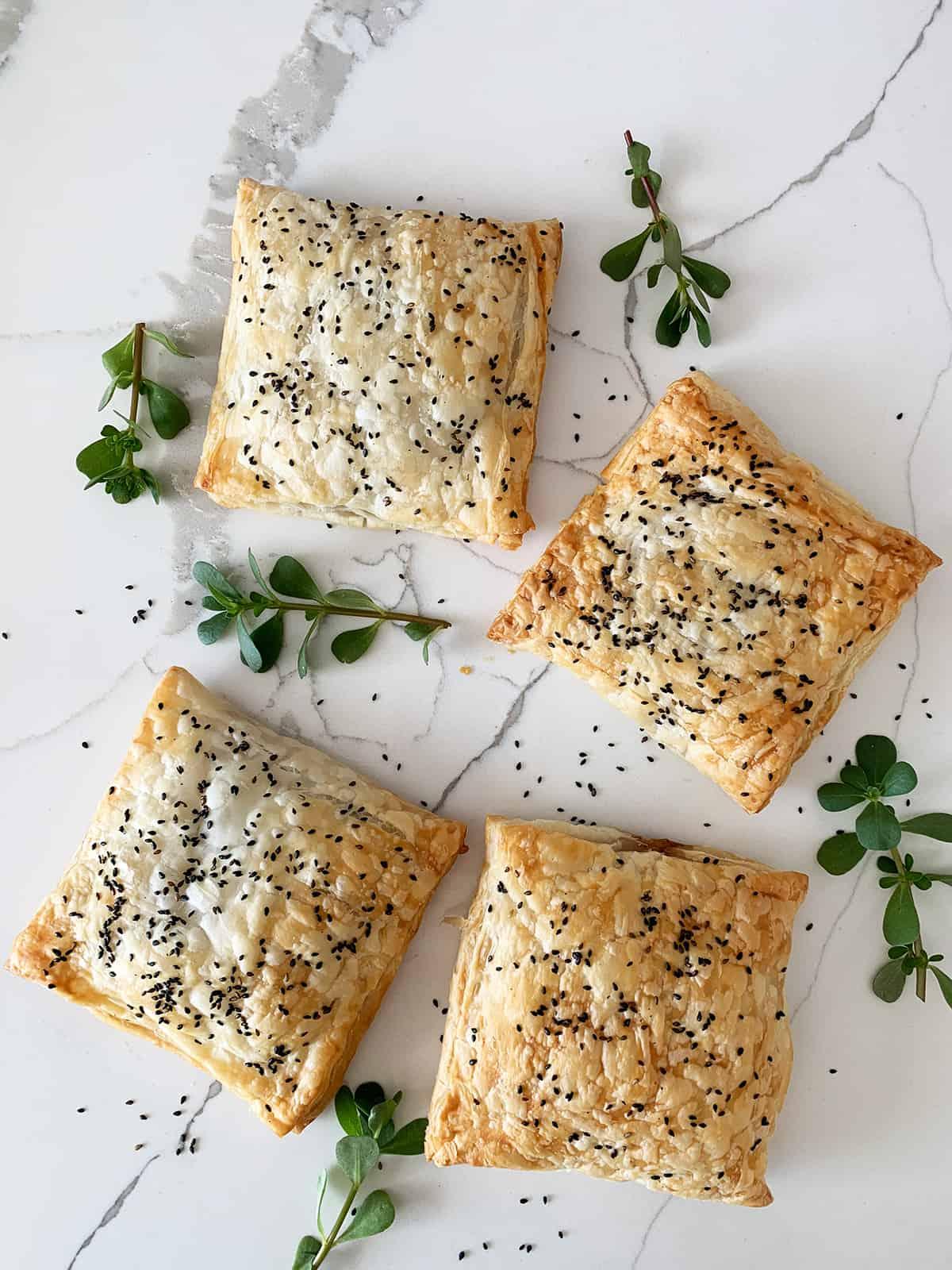Purslane Bakleh Puff Pastry Pockets