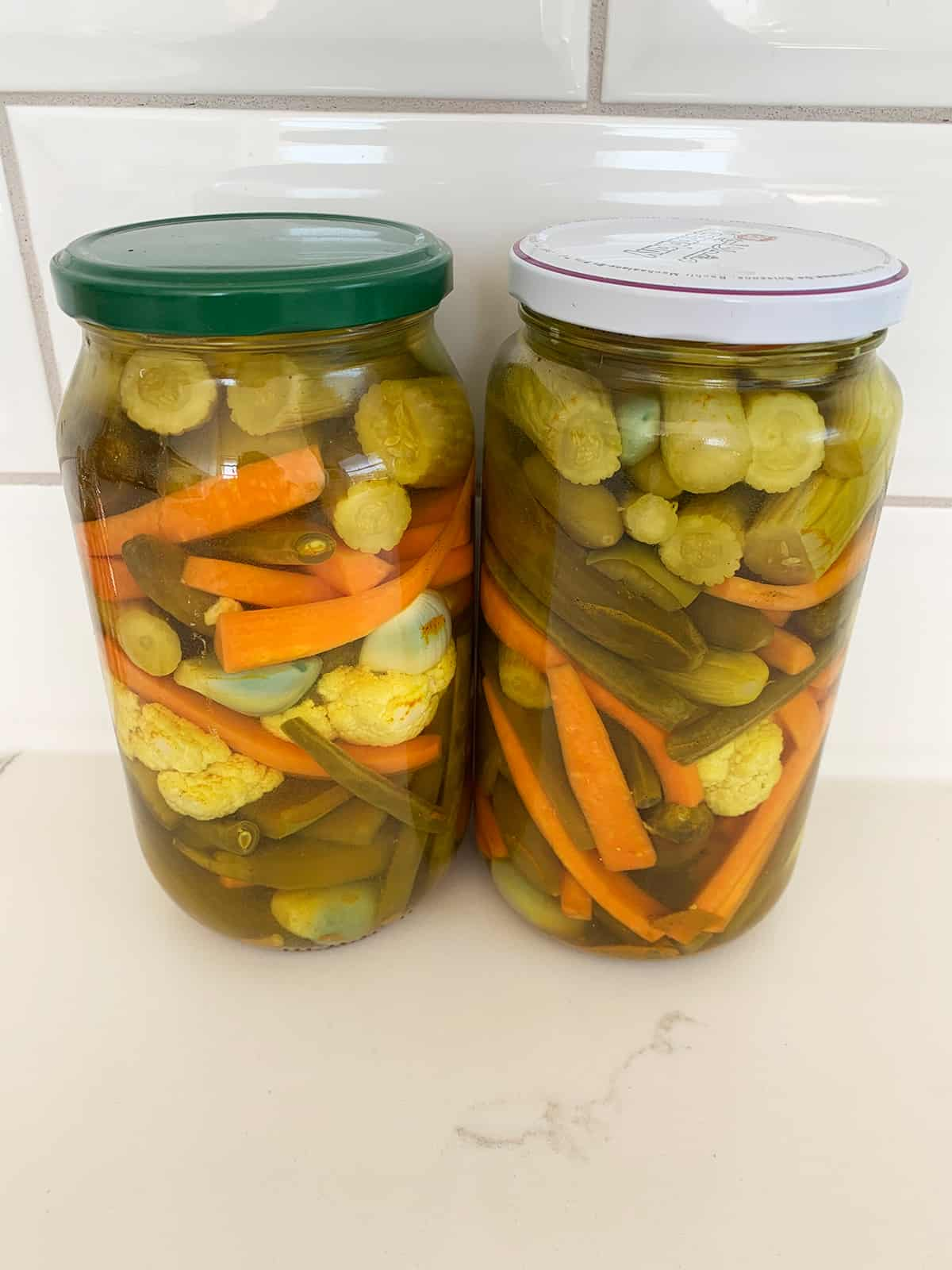 vegetables pickled in two jars - an Armenian recipe for tourshi.