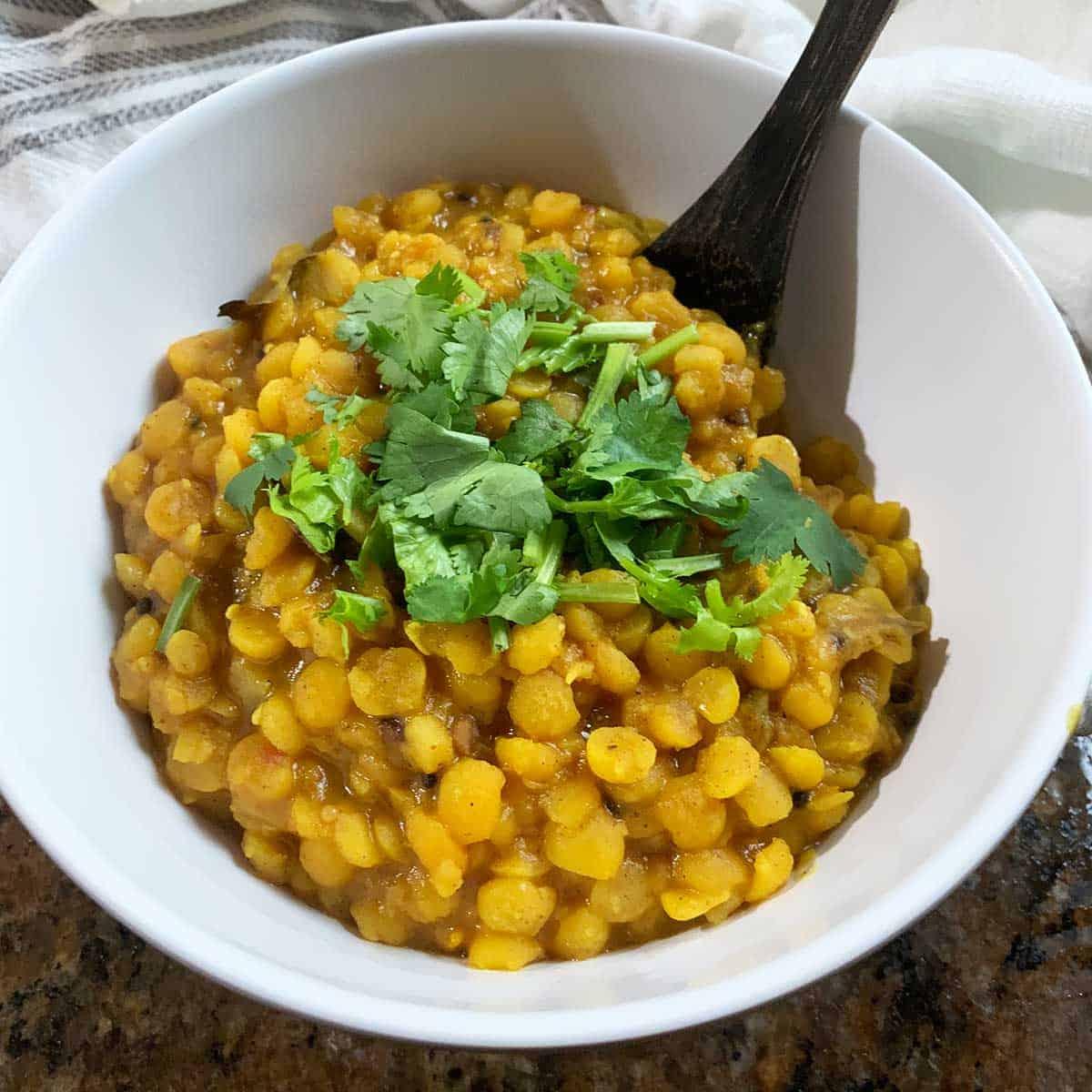 Vegan yellow split pea recipe - vegan dal - Plant Based Folk