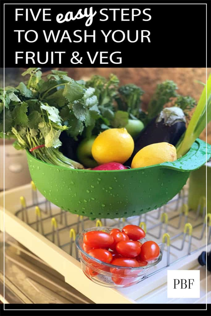 washed fruit and vegetables in a green bowl