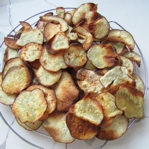 homemade sweet potato chips on a cooling rack