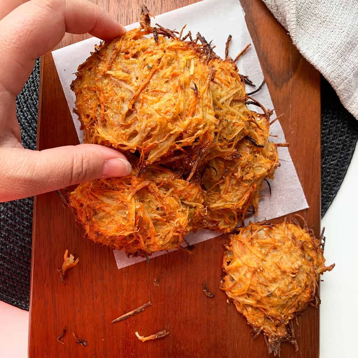 Vegan hash browns in a hand