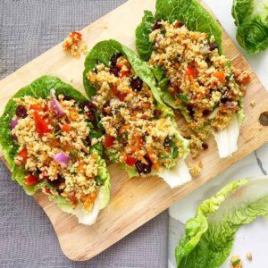 vegan maftoul salad in lettuce cups