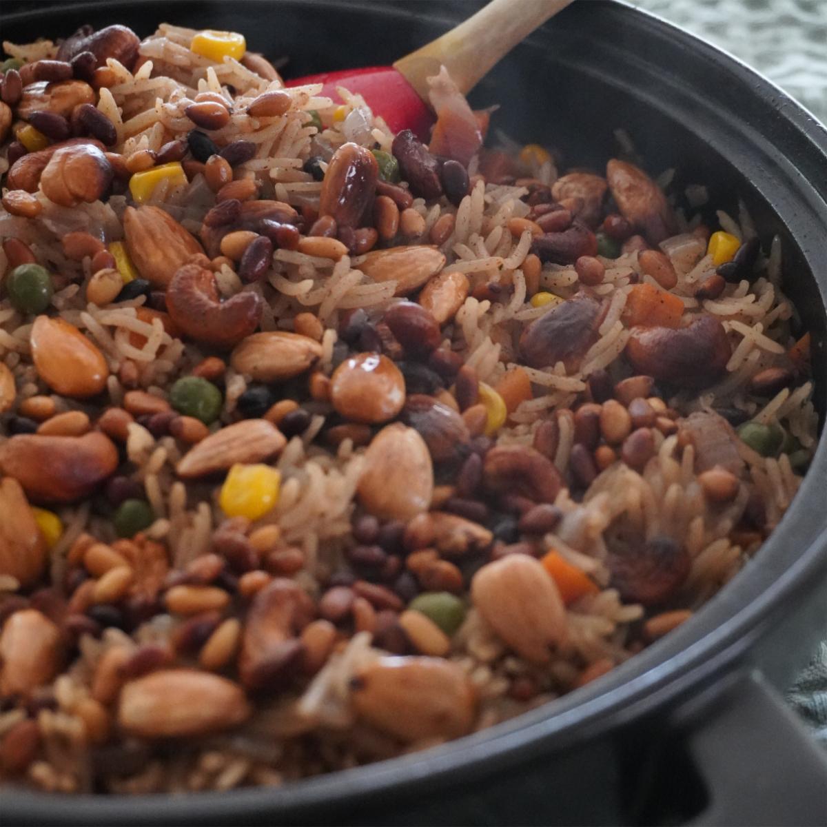 Vegan Lebanese Rice in a black bowl