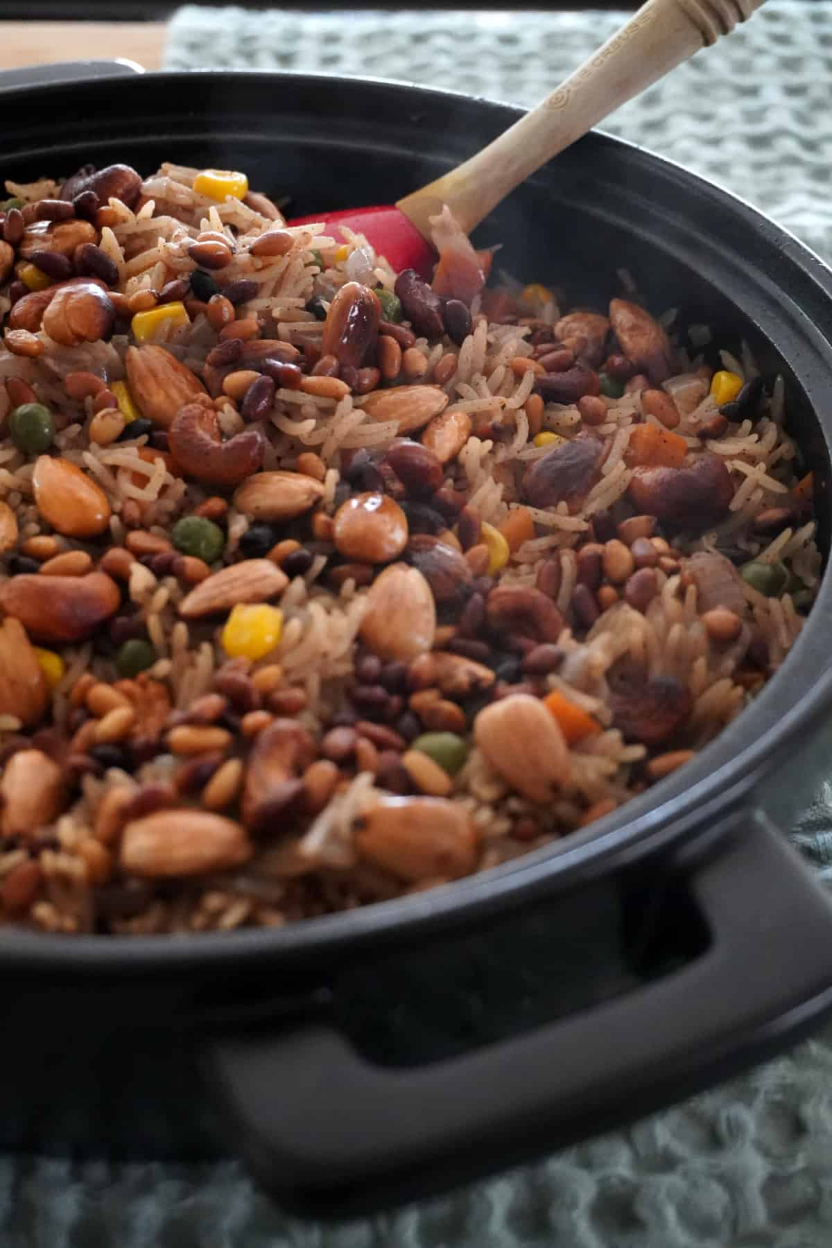 Vegan Lebanese Rice served with nuts in a black dish
