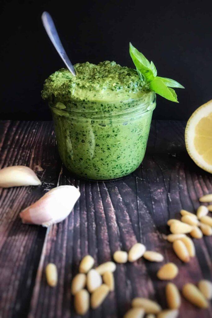 vegan pesto with aquafaba in a small mason jar