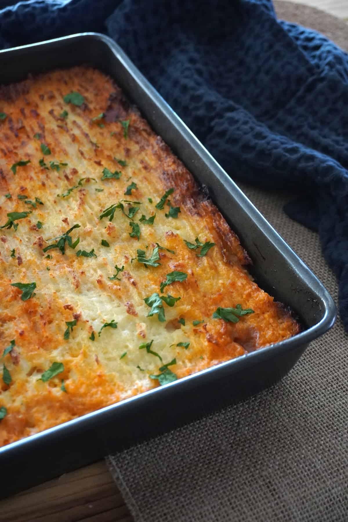Vegan gluten free shepherd's pie in a tray