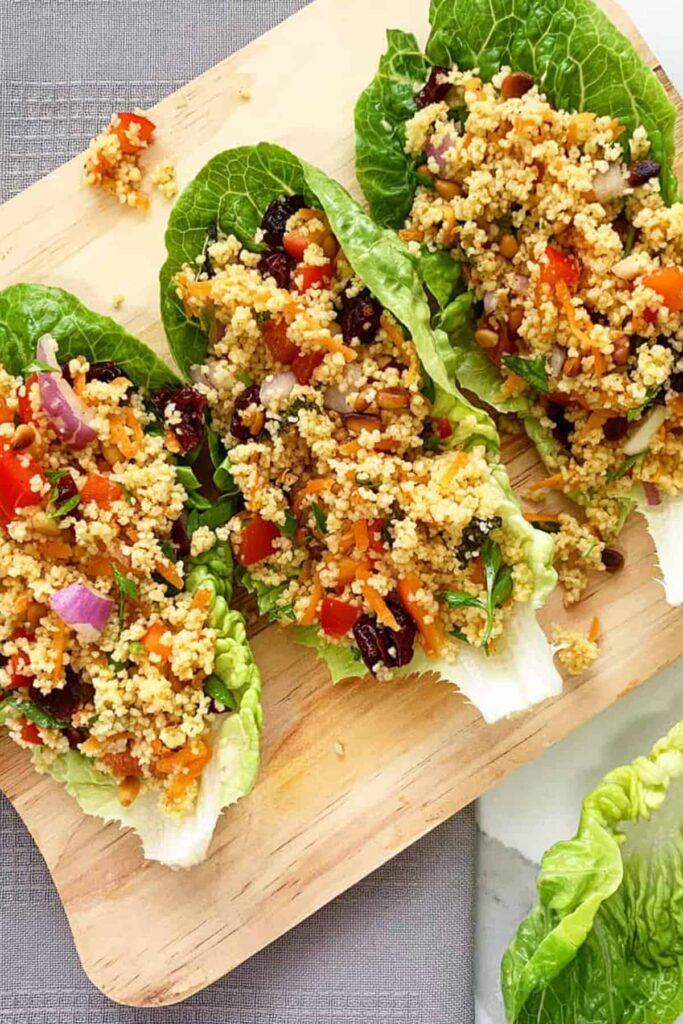 palestinian vegan maftoul salad in lettuce cups