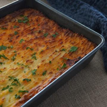 Vegan shepherd's pie in a baking tray