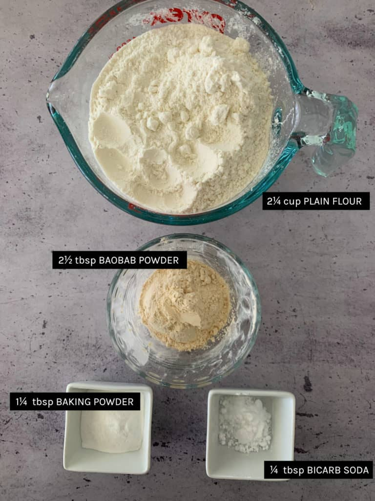 Baobab Muffin dry ingredients list