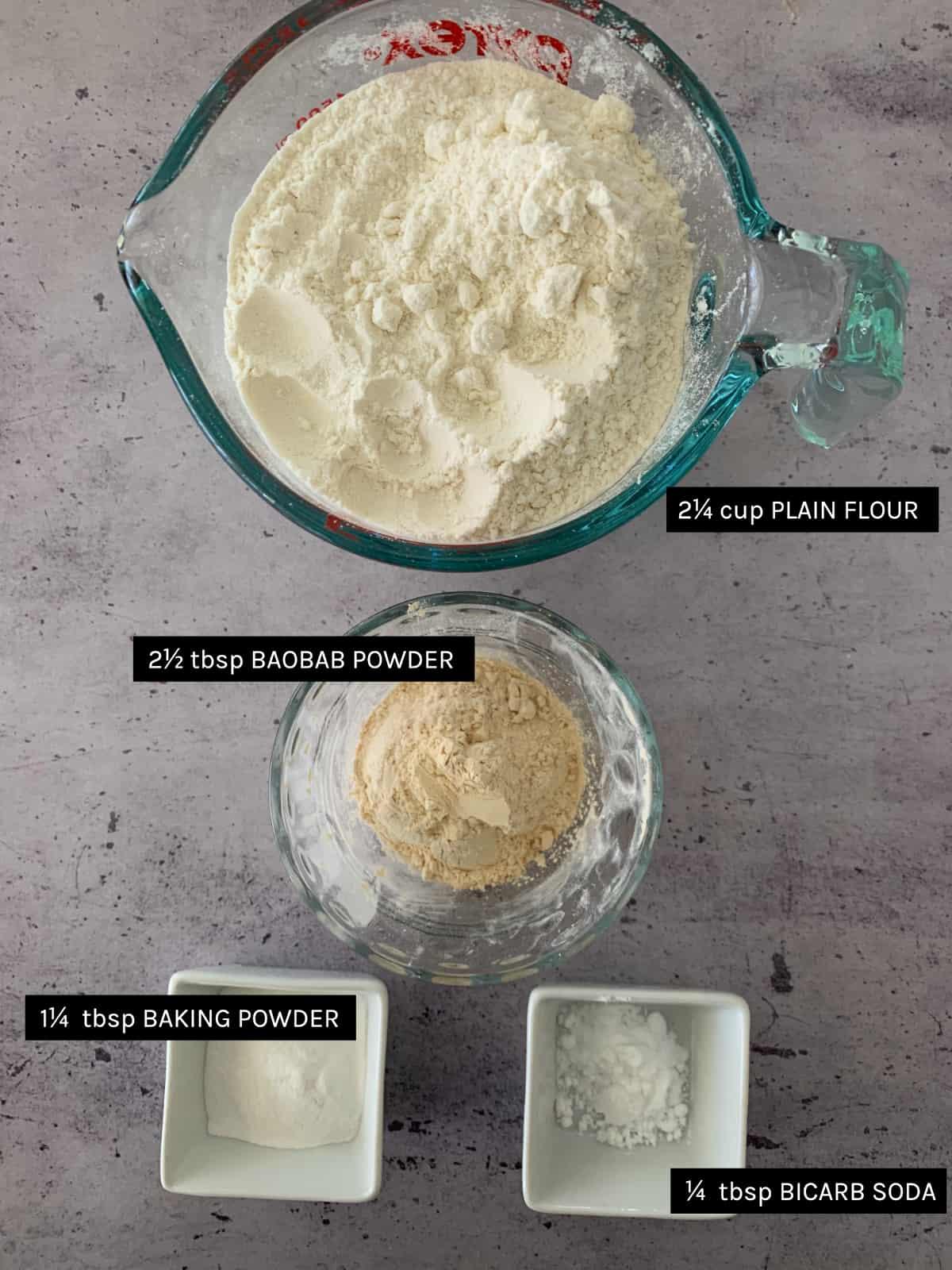 Baobab Muffin dry ingredients list