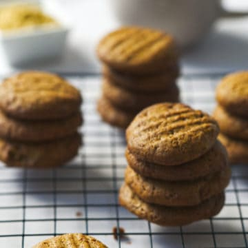 Vegan ginger cookies on a wire rack