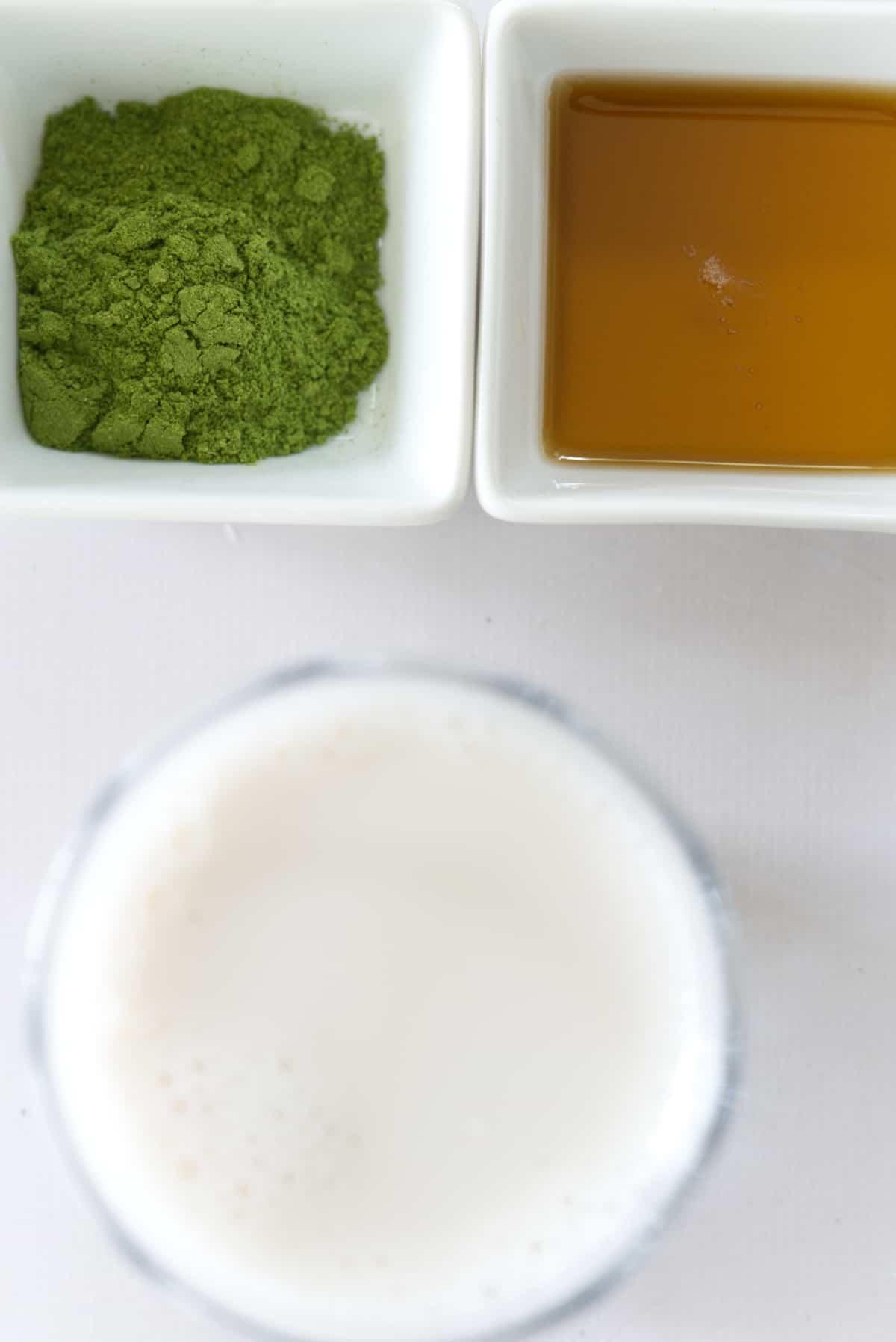 Moringa power, maple syrup and almond milk