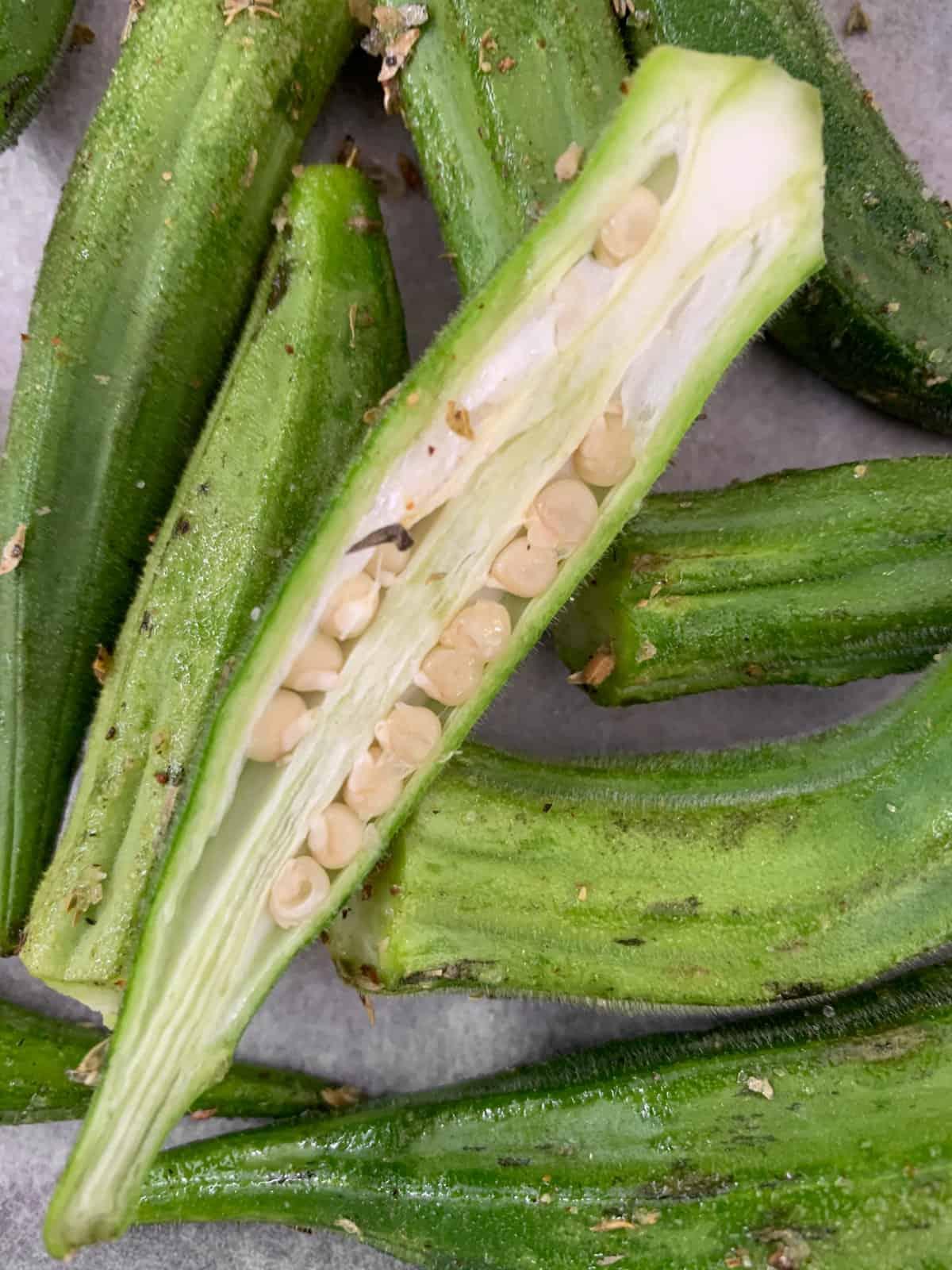 Fresh okra cut to show seeds