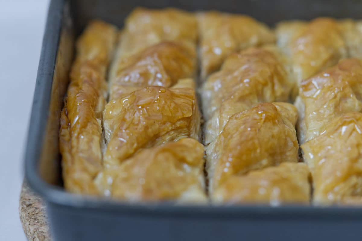 Batlawa fresh out of oven with a little sugar syrup