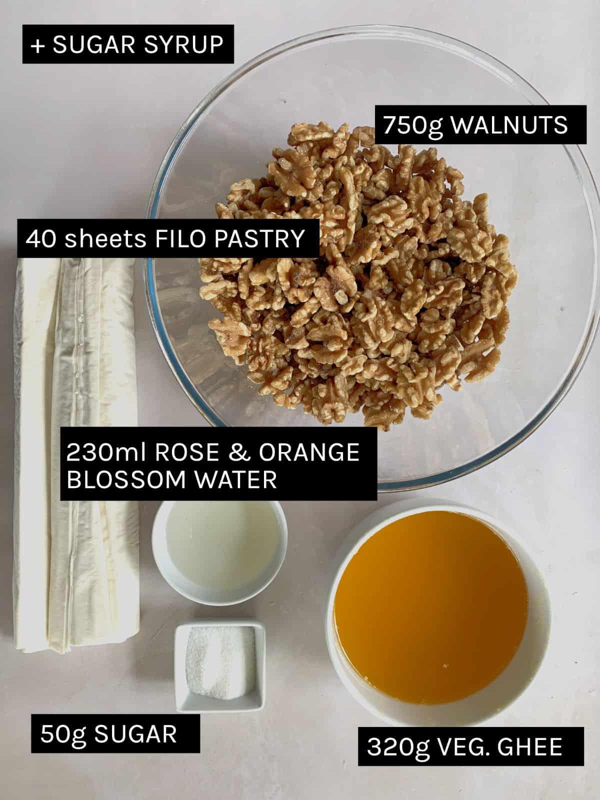 baklawa ingredients in a flat lay