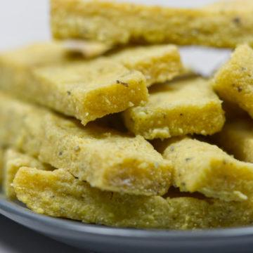 close up of air fried polenta