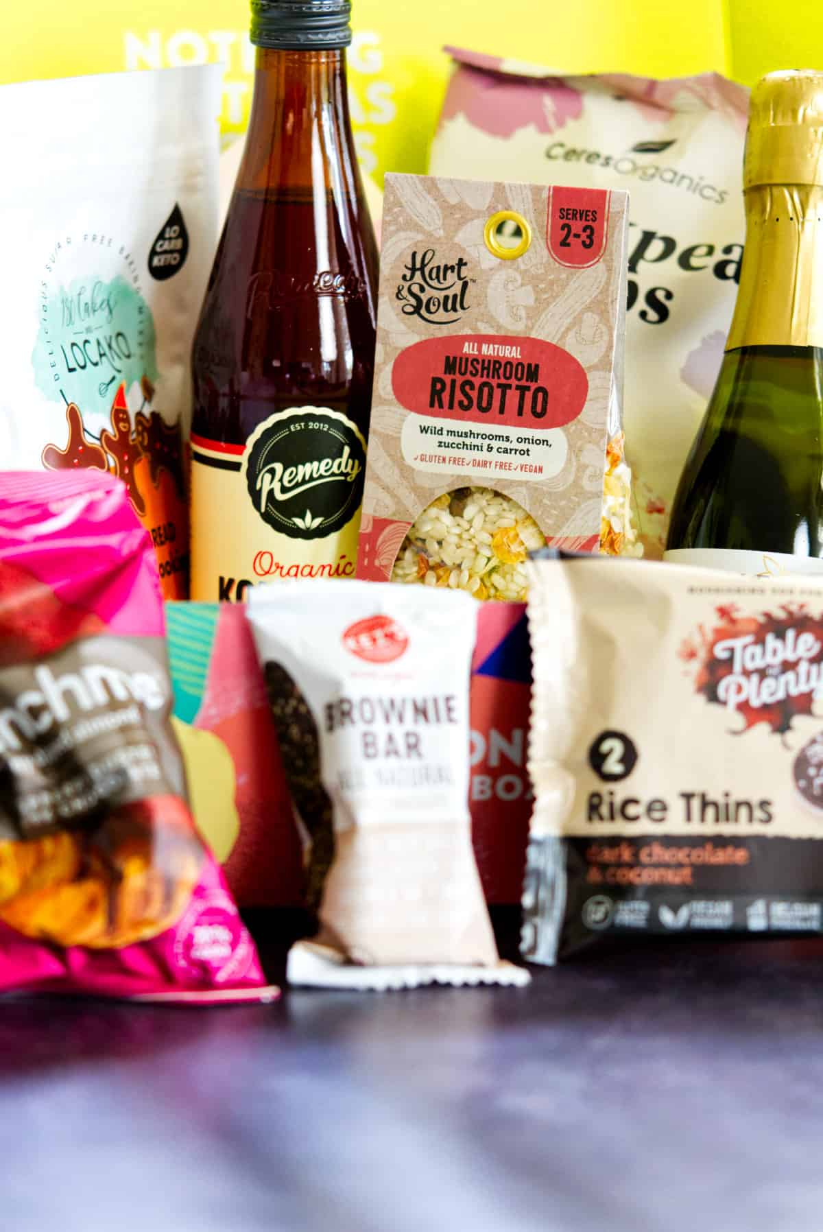 GoodnessMe contents including rissotto, brownie bar, kombucha...