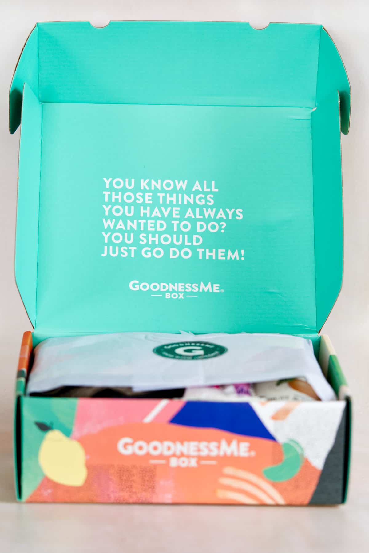 inside the gluten free subscription box with lid open and tissue paper