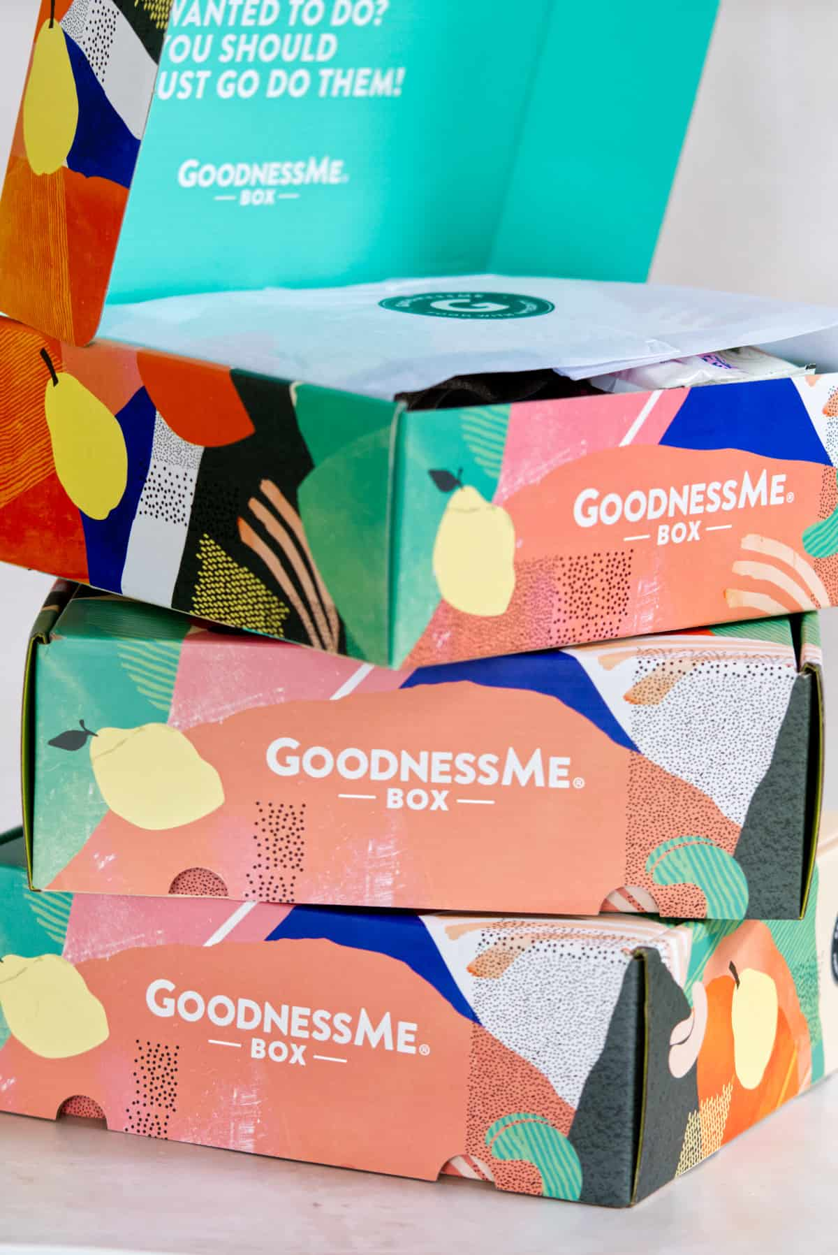 3 x GoodnessMe Australian Subscription Box boxes stacked on top of each other