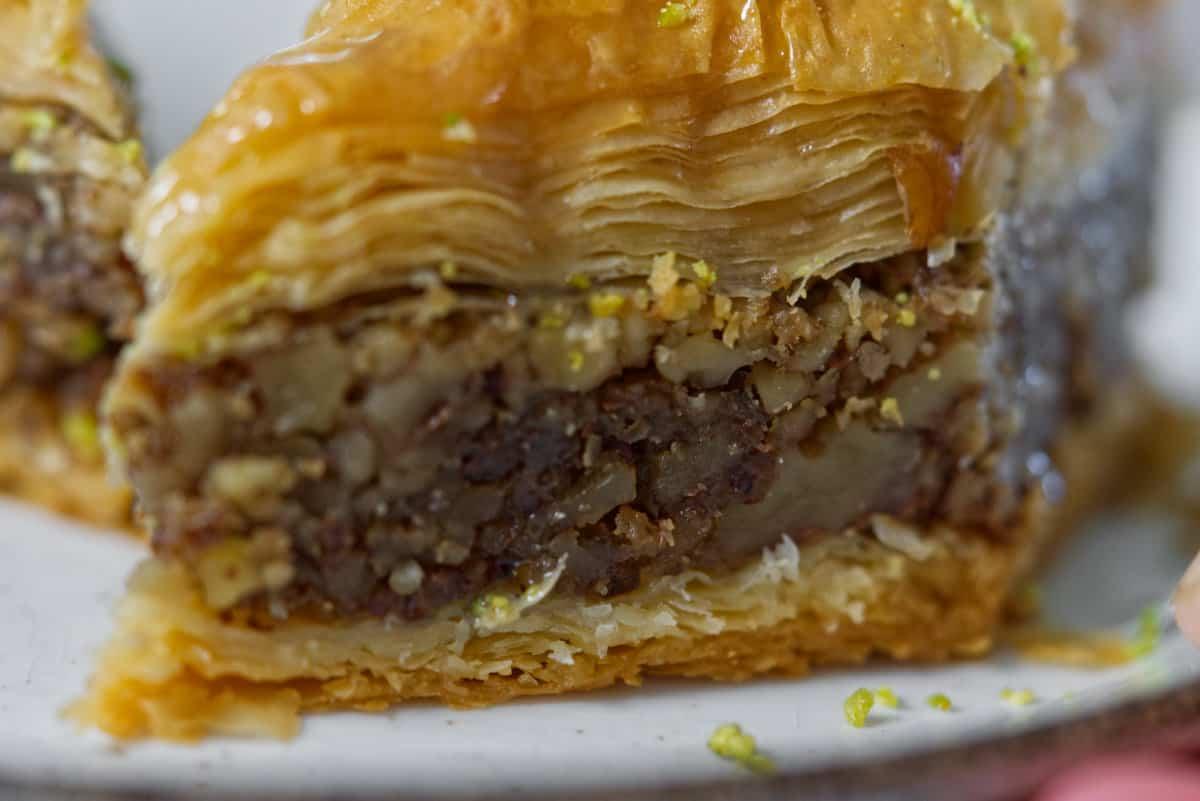 close up of Lebanese baklava