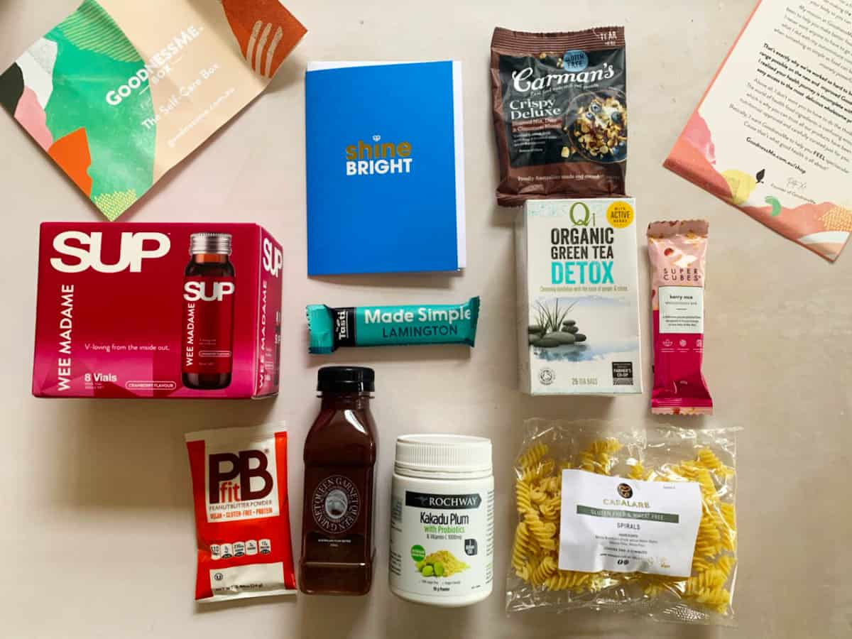 Self care box contents in a flat lay