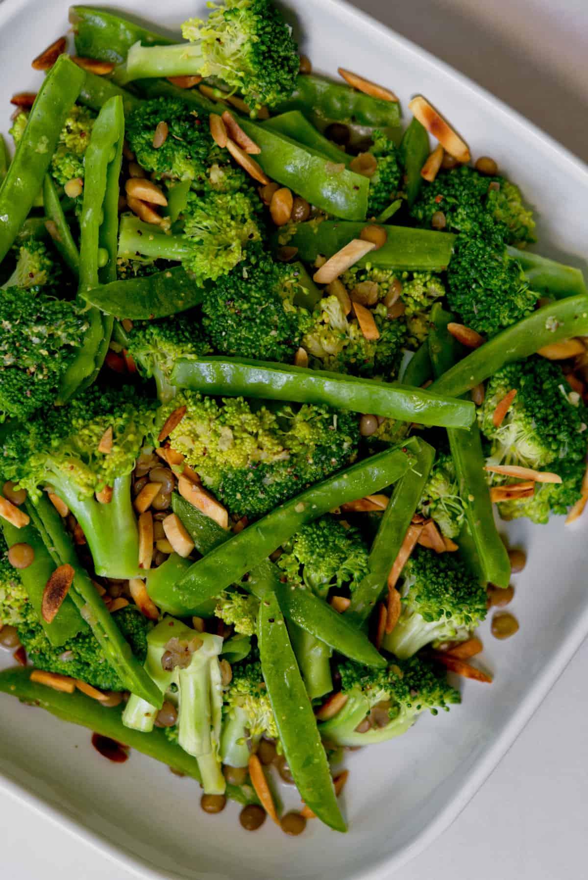 top view of broccoli salad