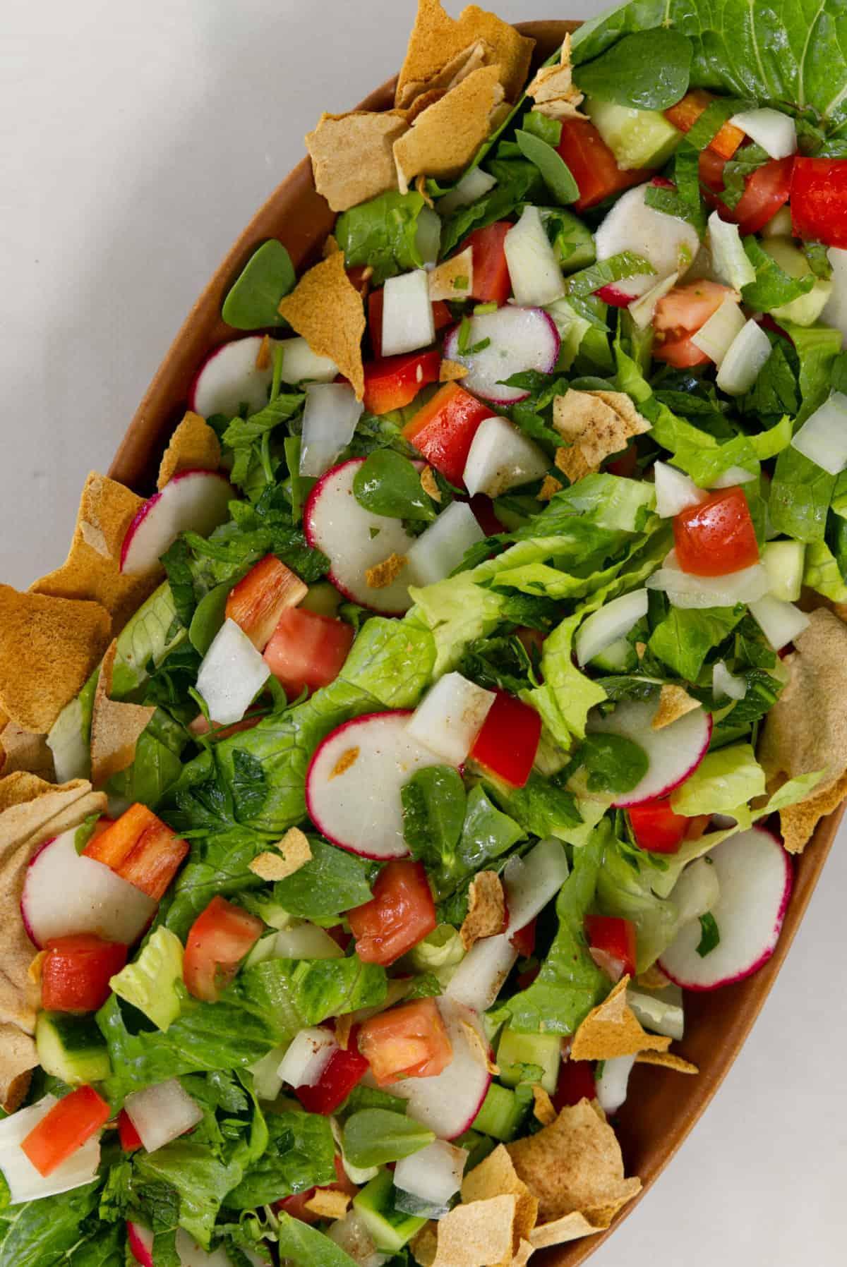 fatush salad top down view