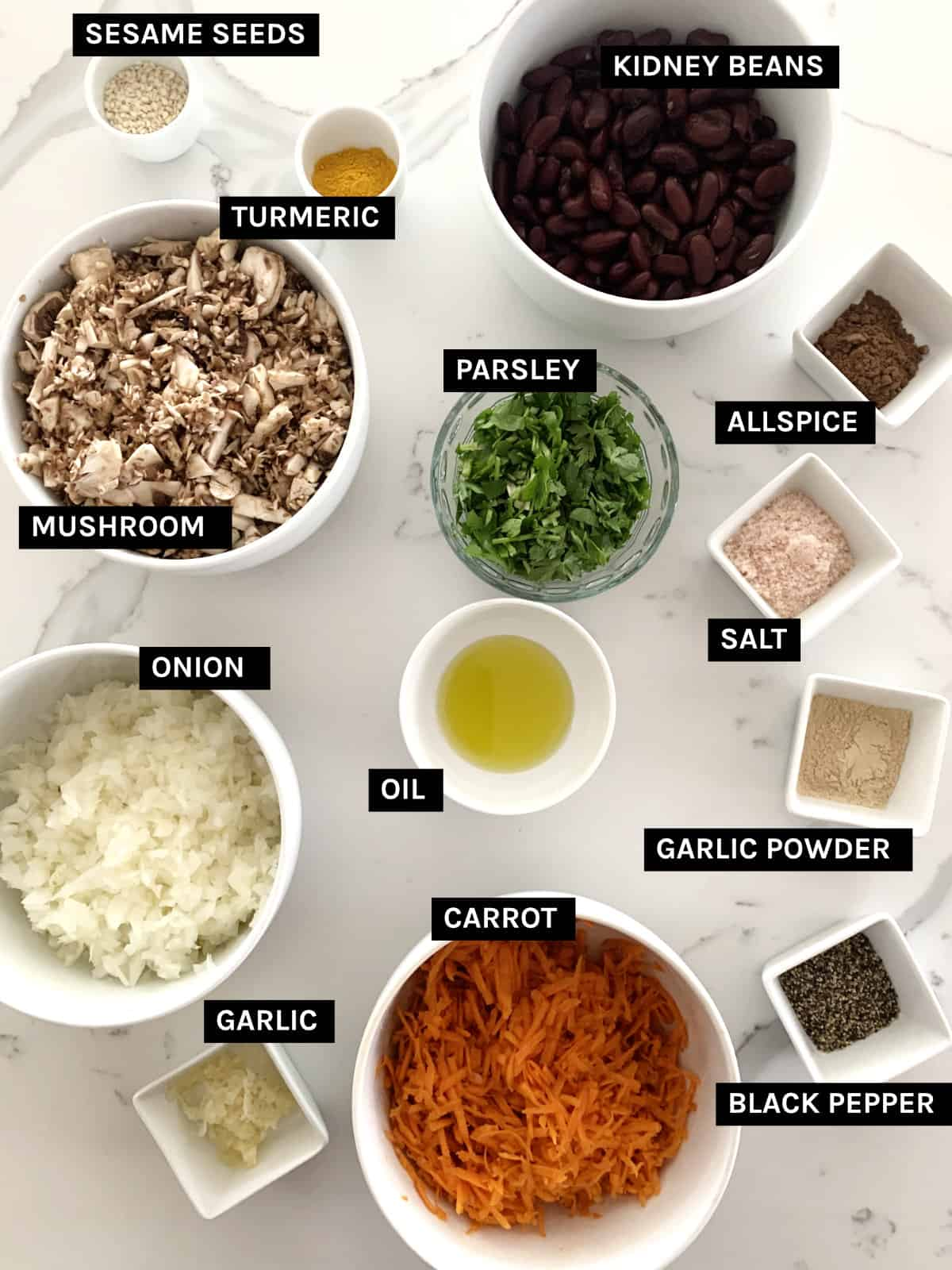 vegan sausage rolls ingredients layed out