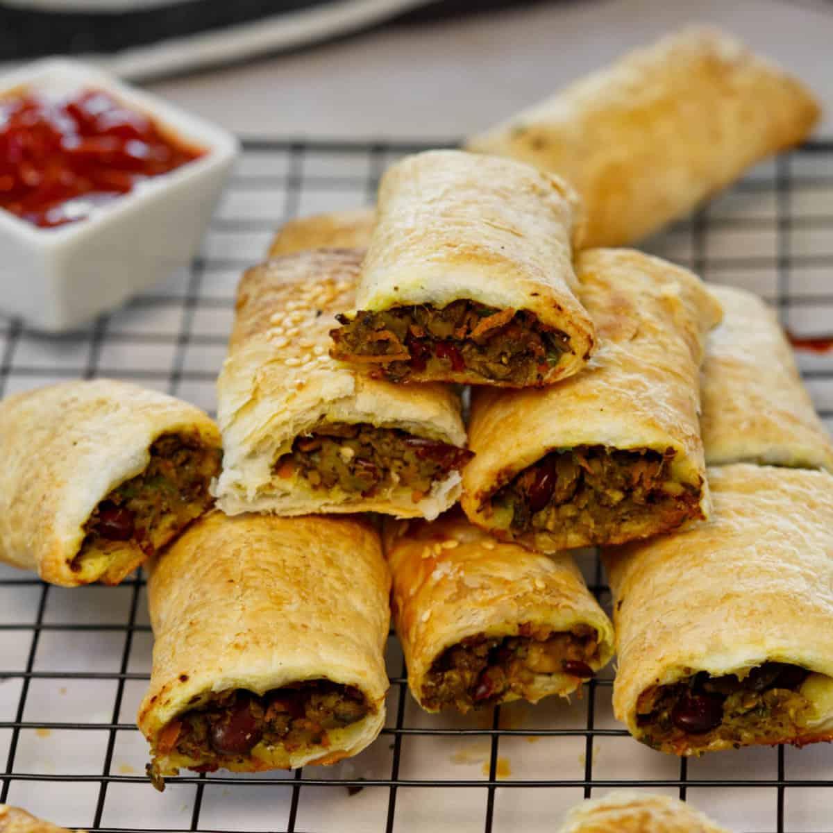 stacked vegan sausage rolls