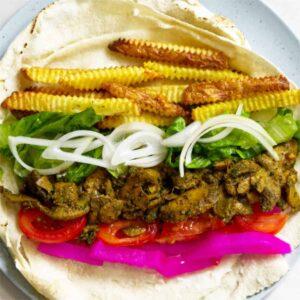 open vegan shawarma roll