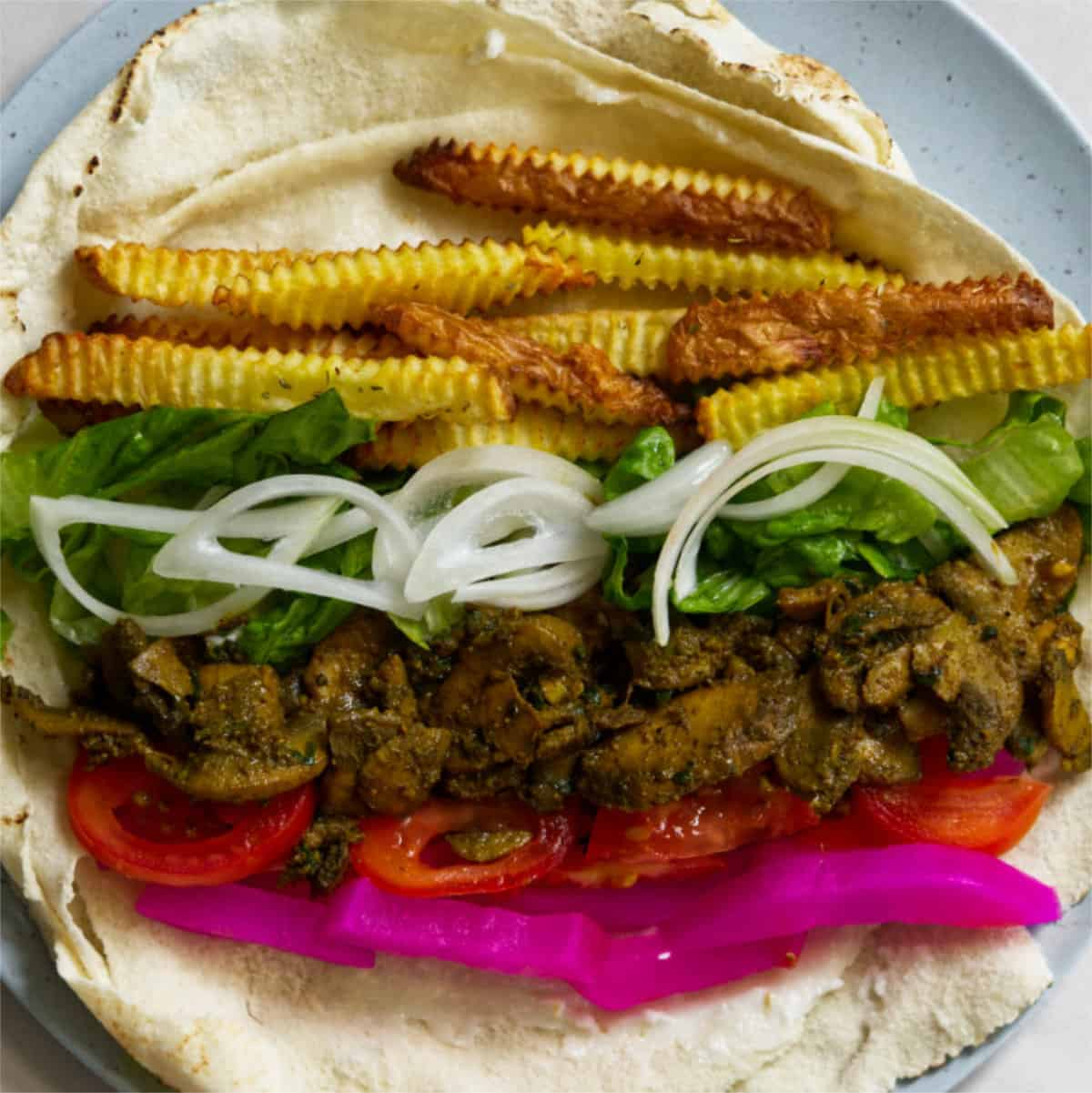 open vegan shawarma roll