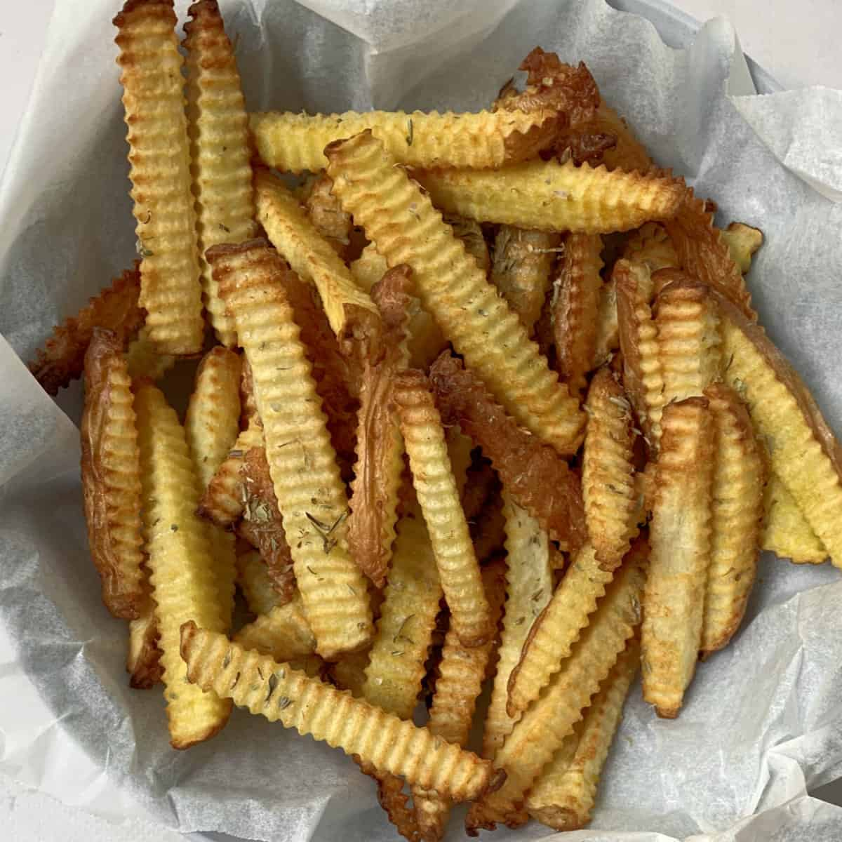 air fried french fries in a bowl