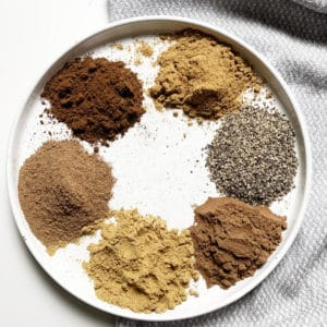 baharat spices in a white plate