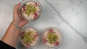 muhallabi with garnish in 3 bowls
